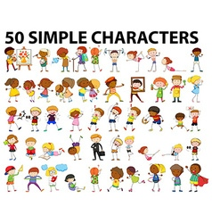 Fifty simple characters doing different activities vector image