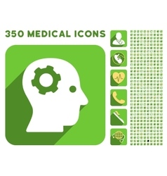 Intellect mechanism icon and medical longshadow vector