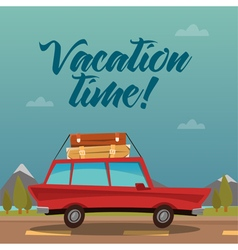 Travel banner travel by car vacation time vector