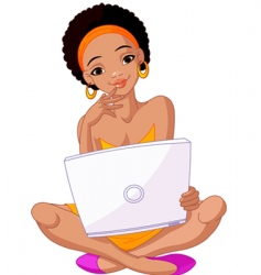 African girl with laptop vector image