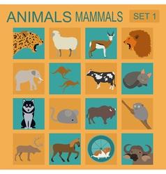 Animals mammals icon set flat style vector image