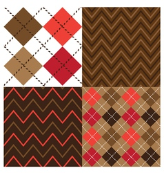 Argyle Brown Set vector image vector image