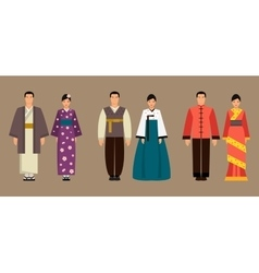 Asian men and women in national costumes vector image vector image
