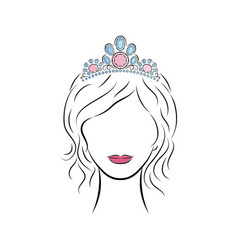 beautiful young girl wearing a crown or tiara with vector image vector image