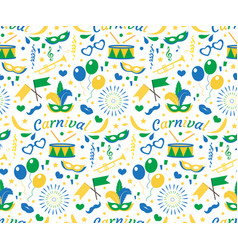 brazilian carnival seamless pattern with mask vector image vector image