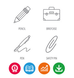 Briefcase pencil and safety pin icons vector