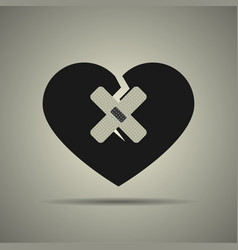 Broken heart icon with two patches vector