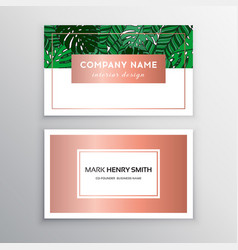 business cards gold and colorful design tropical vector image vector image