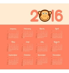Calendar for 2016 with monkey Week Starts Sunday vector image vector image