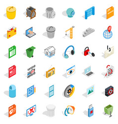 Computer file icons set isometric style vector