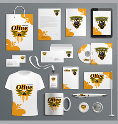 Corporate identity template for olive farm product vector