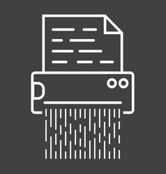 document shredder line icon destroy file vector image vector image