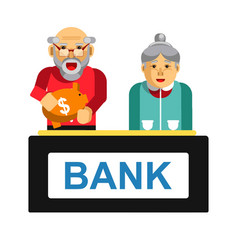 Elderly making deposit in bank grandparents with vector