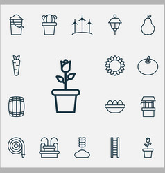 Farm icons set with fountain wind power barrel vector