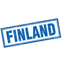 Finland blue square grunge stamp on white vector