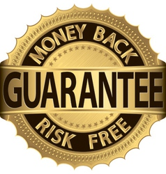 Gold Money Back Guarantee Label vector image vector image