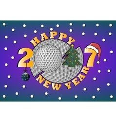 Happy new year 2017 and golf vector image vector image