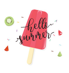 hello summer with fruit popsicle on white vector image