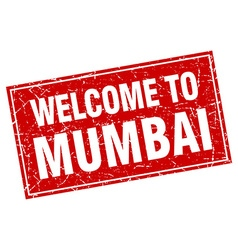 Mumbai red square grunge welcome to stamp vector