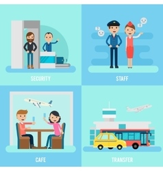 People in airport flat concept vector