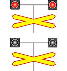 Railway crossing traffic light vector