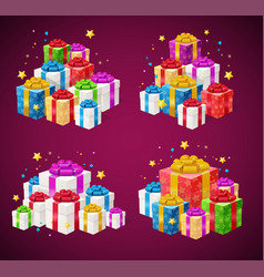 realistic 3d detailed present boxes piles set vector image vector image