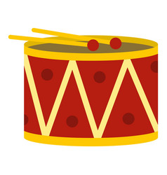 Red drum and drumsticks icon isolated vector