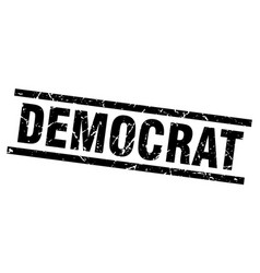 square grunge black democrat stamp vector image
