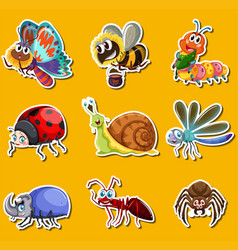 sticker set with many insects on yellow background vector image