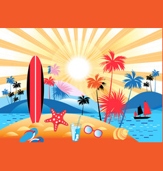 Summer tropical landscape with palm trees vector