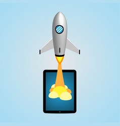 Technology and business start up soar rocket vector