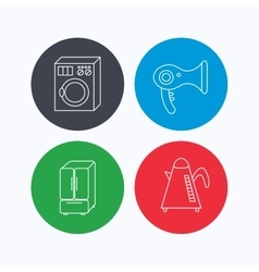 Washing machine teapot and hair-dryer icons vector image