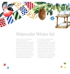 Watercolor winter frame design vector image