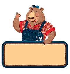 worker bear banner vector image vector image
