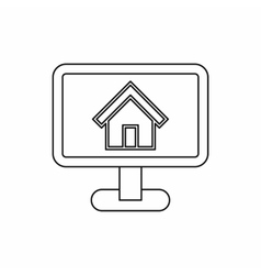 Monitor with picture home icon outline style vector