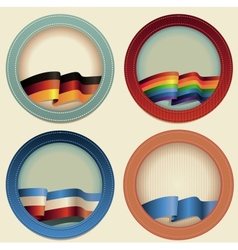 Abstract round frames with flags vector image