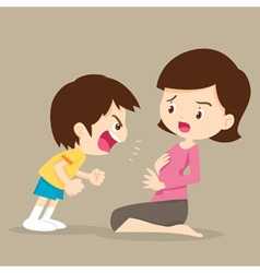 boy angry shouting with mom vector image