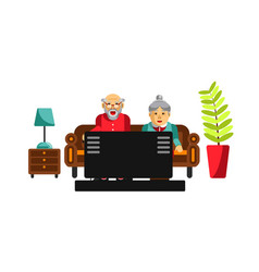 Grandmother and grandfather watching tv on the vector