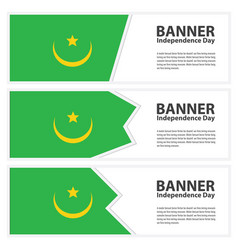 Mauritania flag banners collection independence vector