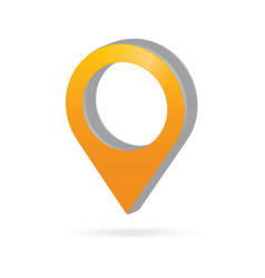 3d metal orange map pointer icon marker gps vector