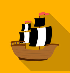 Pirate ship icon in flat style isolated on white vector