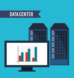 data center computer financial graph vector image