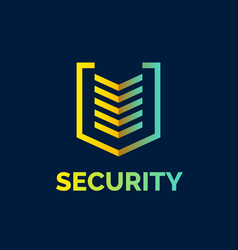 Linear shield a symbol of security protection vector