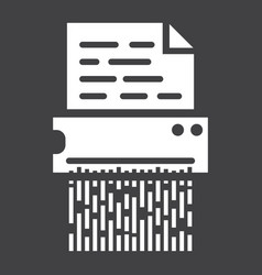Document shredder solid icon destroy file vector
