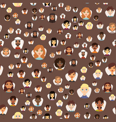 Seamless pattern avatars with facial features vector