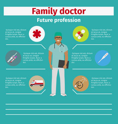 Future profession family doctor infographic vector