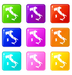 Map of italy set 9 vector