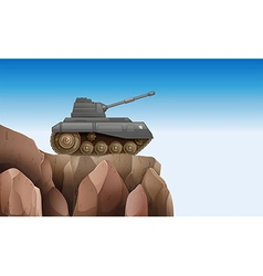A tank at the cliff vector