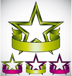 Green star label with blank banner vector
