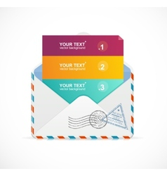 Mail postcard menu with 3 choices 123 vector